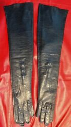 VTG Sz: 7 1 4 19quot; BLACK KID LEATHER OPERA GLOVES FORMAL EVENING BOUDOIR GRAMMYS $139.95