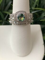 Ring Bomb Party Size 6 Green Rainbow Topaz And White Double Band Ring Set $19.00