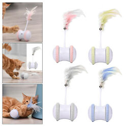 Cat Interactive Toy Rotating Tumbler Feather Teaser Funny Hand Free Training Toy $24.06
