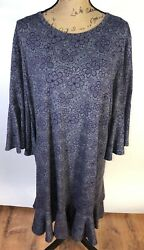 Lularoe Gray Purple Dress Ruffle Bell Sleeves Plus Size 3X $20.00