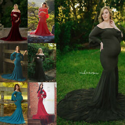 Women Pregnant Dress Off Shoulder Mermaid Long Maternity Gown Photography Props $39.99