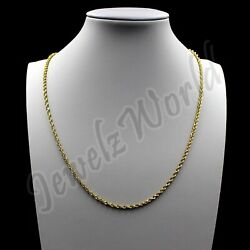10K Solid Yellow Gold Rope Figaro Cuban Link Chain Necklace 16quot; 30quot; Mens Womens $129.99
