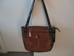 STONE MOUNTAIN Brand New Large Brown leather croc roomy shoulder bag NWT $25.00