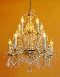ANTIQUE 10 LIGHT FRENCH CRYSTAL CHANDELIER MARIE THERESA Lots of Antique prisms $450.00