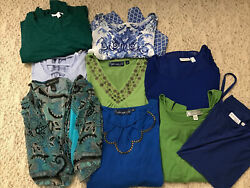 Lot Of 9 Womens Plus Size Clothing 1X Green Blue Mixed Susan Graver INC $55.00