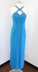 Vtg Blue Silk Beaded Sequin Strappy Cutout Party Evening Formal Dress Size 6 $59.99