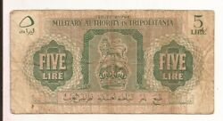 1943 Libya Military Authority in Tripolitania 5 Lire rare WWII note P3a $14.00