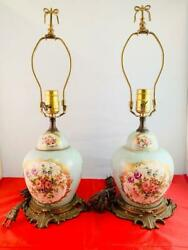Pair Of Vintage Hand Painted Porcelain French Lamps Dimensions H:19quot; amp; W:6quot; $649.99