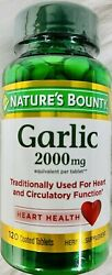 Nature#x27;s Bounty Garlic 2000mg Tablets 120 Coated Tablets Herbal Supplement $9.49