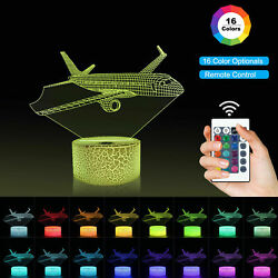 Night Light 3D Illusion Airplane Lamp LED 16 Color Table Lamp for Kids Boys Room $20.99