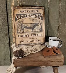 PRIMITIVE ANTIQUE VINTAGE DAIRY COW FARM PRINT ART SIGN ADVERTISE CANVAS 8 X 10 $14.50