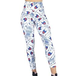 Champion High Waist All Over Print Leggings Work Out Pants Size XS White NEW $34.95
