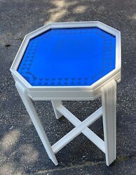 Antique Art Deco Accent Side Table Painted White Mirrored Top $65.00