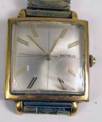 BENRUS MODERNIST SQUARE FACE WRISTWATCH WATCH MENS FOR PARTS OR REPAIR $112.50