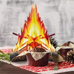 Fake Artificial 3D Paper Fire Flame for Lockdown Picnics 12 inch tall 3 sets $11.49