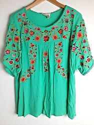 Savanna Jane Floral Embroidered Blouse Teal Blue Peasant Top Boho Size 2X $24.99