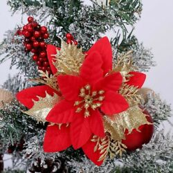 10x Artificial Christmas Glitter Flowers Tree Hanging Xmas Party Tree Decoration $9.90