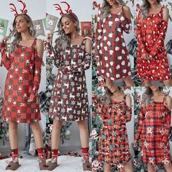 Women Christmas Print Long Sleeve Midi Dress Off Shoulder Party Dresses Ladies $13.99