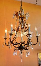 ITALIAN GILDED TOLE CAGE CHANDELIER 6 ARMS 7 LIGHTS ANTIQUE FACETED CRYSTALS $650.00