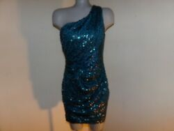 LILY ROSE Teal Sequin Party Prom Bridesmaid One Shoulder Dress Size Medium VGC $36.99