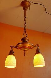 Antique Art Deco Era Two Light Pan Chandelier Molded Antique Shades Restored $150.00
