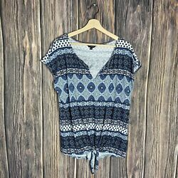 Lucky Brand XL Top Women's Boho Knot Front Multicolor Casual $17.99
