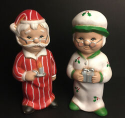 Vintage Ceramic Santa and Mrs Claus Pajamas Figurines Holiday Decor $21.99