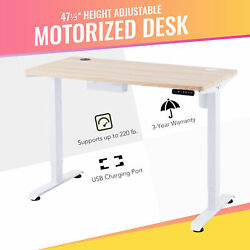 47quot; Electric Computer Gaming Desk for Sitting and Standing 220lb Cap amp; USB White $277.99