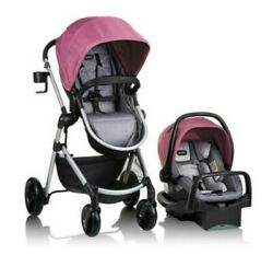 Evenflo Pivot Modular Travel System with Infant Car Seat Dusty Rose Berry Pink $65.00