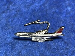 Trans World Airplane Vintage Tie Tac Clip Stick Pin Pinback New Open Pack $2.99