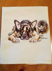 Embroidered Tablecloth German Sheppard Dog 35x32 $25.00