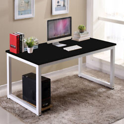 Black Study Desk Wood Computer Table Office Furniture PC Laptop Workstation New $55.99