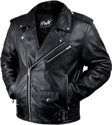 Leather Men Motorcycle Jacket Moto Riding Cafe Racer Vintage Jackets CE Armored $41.99