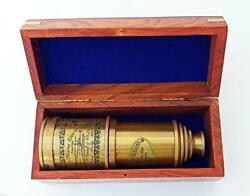 BRASS ANTIQUE VINTAGE 20quot;VICTORIAN MARINE TELESCOPE WITH WOODEN BOX SPYGLASS $150.00
