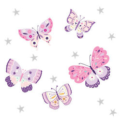Bedtime Originals Butterfly Kisses Pink Purple Wall Decals Appliques $14.99