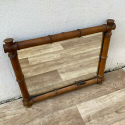 Vintage French wood FAUX BAMBOO WALL HANGING MIRROR 11122012 $139.00