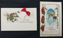 Lot 2 Christmas Novelty Attached Ribbons 1 Attached Bell #6010 $2.99