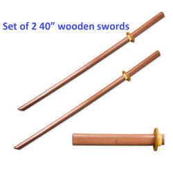 Set of 2 40quot; Wood Wooden Samurai Sword Bokken Practice Training Katana w Guard $26.99