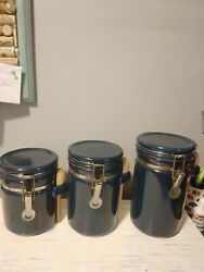 Ceramic Kitchen Canister Set Wood Spoons Storage Containers Flip Top Lid $16.00