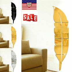 Removable 3D DIY Feather Mirror Home Room Decal Vinyl Art Stickers Wall Decor $12.08