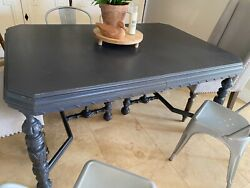 Antique Carved Dining Table Painted Dark Blue $390.00