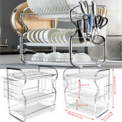 For Kitchen Storage 3 Tiers Dish Cup Drying Rack Holder Organizer Drainer Tray $33.00