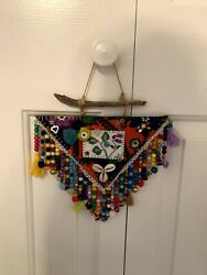 Evil Eye Wall Hanging İn Handmade Felt amp; Flannelamp;Embroidery Amulet. Driftwood. $35.00