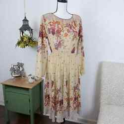 Vintage Floral Boho Long Sleeve Dress Size S M Midi Sheer Accordion Pleat Leaves $36.97