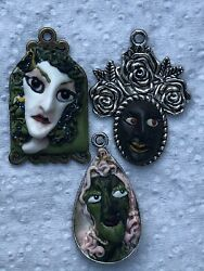 3 Handmade Pendants Witch Charms Face Craft Parts Jewellery Portrait Boho DIY GBP 12.50
