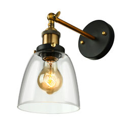 Industrial Vintage Wall Sconce Clear Glass Shade Brass Vanity Lighting Wall Lamp $39.99