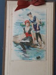CHARLES RELYEA Print TWO WOMEN WEARING OLD BATHING SUITS 1920s CALENDAR $10.00