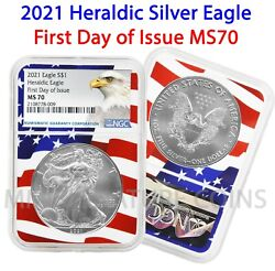 2021 $1 Heraldic American Silver Eagle NGC MS70 First Day of Issue Flag Core $79.95