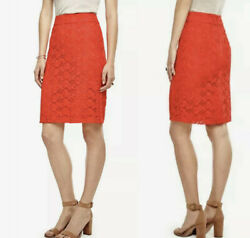 Ann Taylor Lace Pencil Skirt Womens Size 8 Fiesta Orange Floral Embroidered $12.99