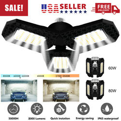 80W 8000LM Deformable LED Garage Light Super Bright Shop Ceiling Lights Bulb US $14.88